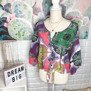 Anthropologie Yumi Kim Colorful Tie Front Silk Top